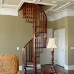 Photo of a wood spiral staircase.