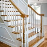 Photo of an over-the-post stair with wood balusters.