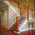 photo of straight scissor stair with post-to-post handrail