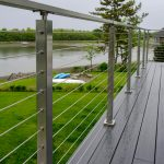 Deck with cable railing on a coastal home.