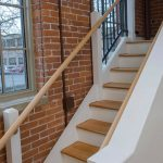 Commercial stair in a renovated factory building.