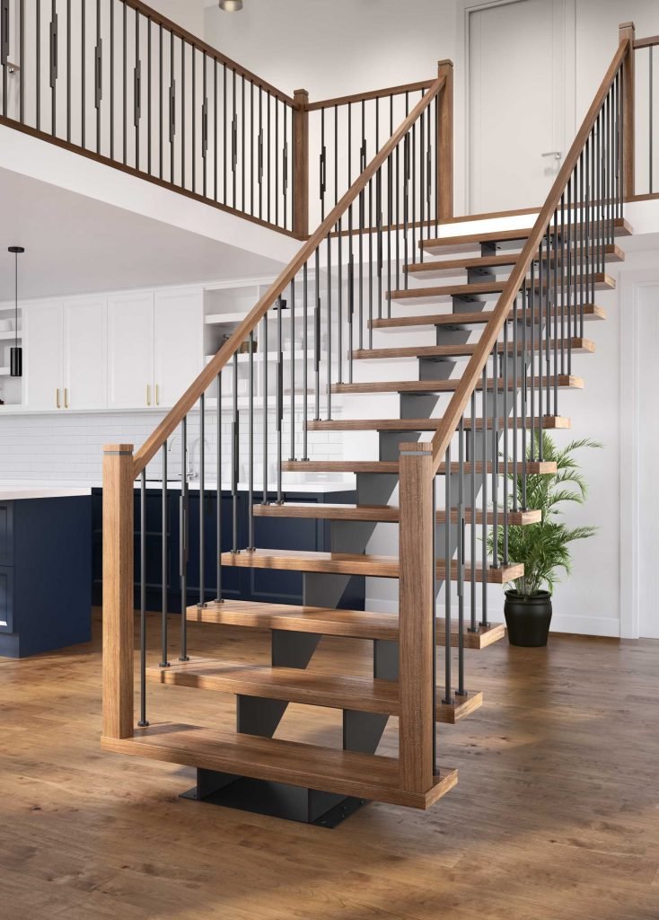 photo of stair with steel stringer, metal balusters and wood post and rail