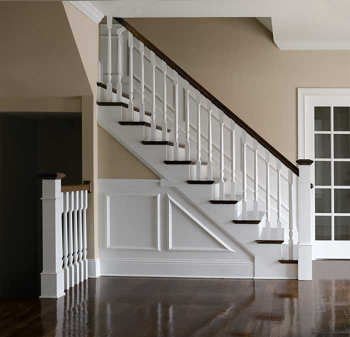 photo of straight stair with box newel