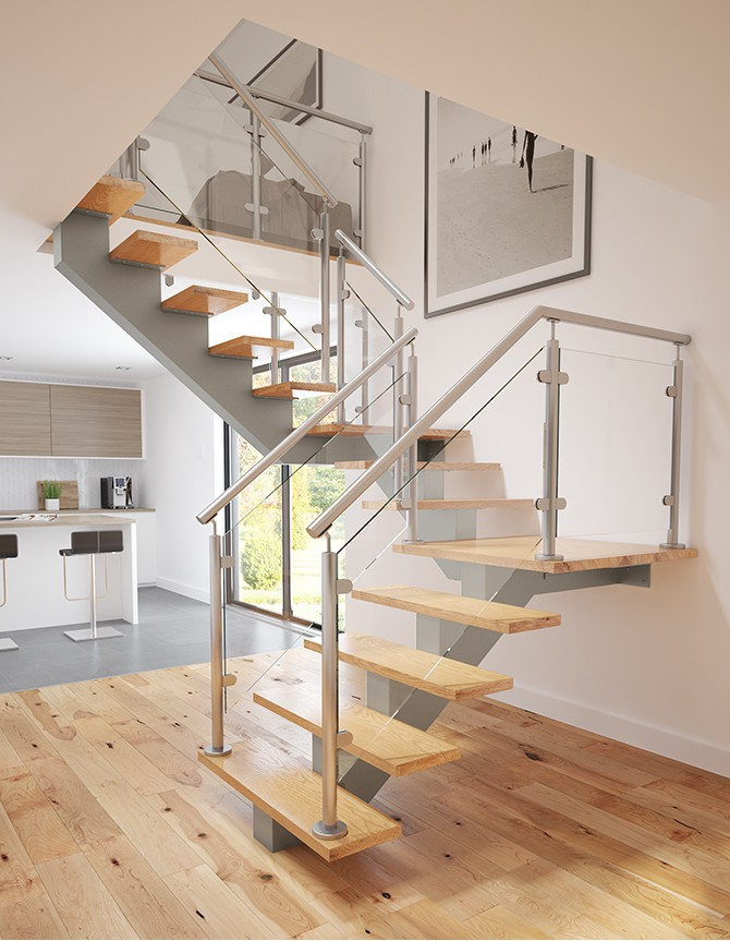 photo of mono stringer stair with glass balustrade